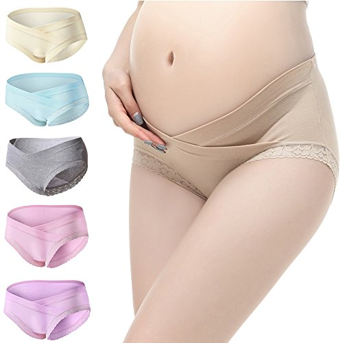 PIDAY Women's Under The Bump Lace Cotton Maternity Underwear