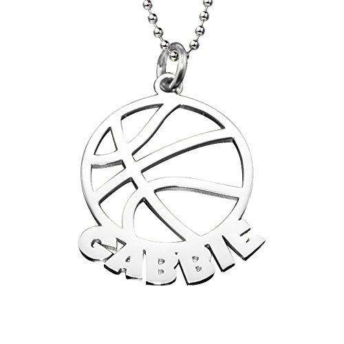 Ouslier 925 Sterling Silver Personalized Cut out Basketball Name Necklace Custom Made with Any Names (Silver)