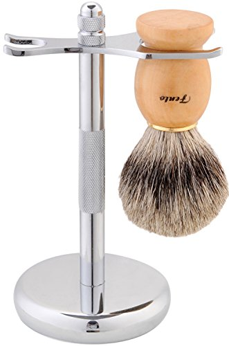 Fento Badger Hair Shaving Brush and Chrome Razor Stand (Brush Shaving Stand)