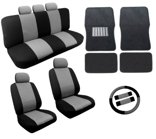 Dual Color Gray/Black Racing Stripe Accent Car Seat Covers Floor Mats Set 18pc - Front Pair Rear Bench Steering Wheel Cover 5 Headrests
