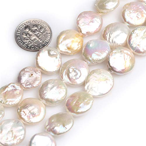JOE FOREMAN 14mm White Freshwater Pearl Coin Loose Beads for Jewelry Making DIY Handmade Craft Supplies 15