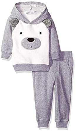 Kids Headquarters Baby Boys' Fleece Hoody with Faux Fur Piecing and Jogger Pants Set, Gray, 12 Months