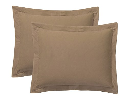 Today's Home Pillow Shams Soft Cotton Blend Tailored Classic Styling, Standard, Mocha (2 Pack)