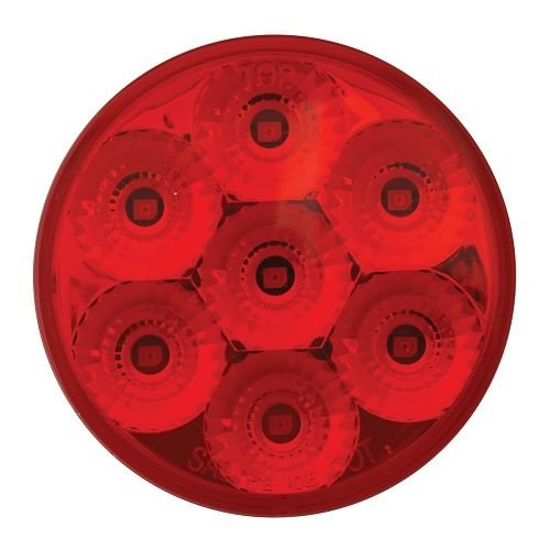 GG Grand General 76642 2 Inch Low Profile Spyder Red Led Light with Pigtail /& Clear Rim