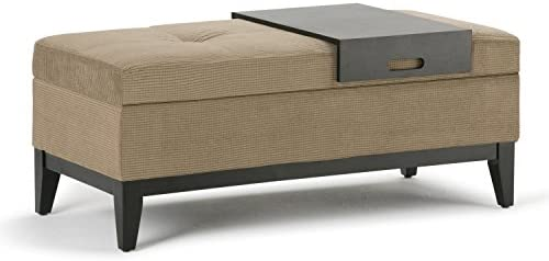 SIMPLIHOME Oregon 42 inch Wide Transitional Rectangle Lift Top Storage Ottoman Bench