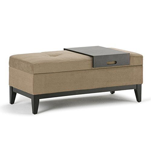 Chenille Bench - Simpli Home Oregon Rectangular Storage Ottoman Bench with Tray, Tan Chenille