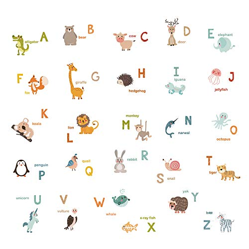 decalmile Alphabet ABC and Animals Wall Decals Classroom Kids Room Wall Decor Removable Wall Stickers for Kids Bedroom Nursery Baby Room by decalmile