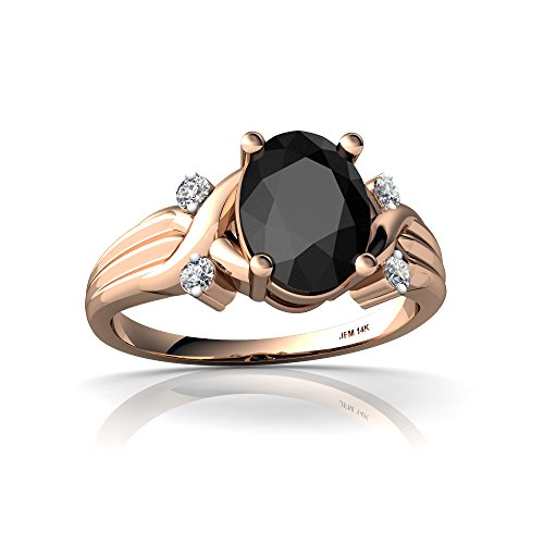 14kt Rose Gold Black Onyx and Diamond 8x6mm Oval Cross-Over Ring - Size 9
