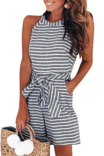 Avanova Women Stripe Print Sleeveless Jumpsuit Romper Short Pants Casual Style (Tag L=US 10-12, 02 -