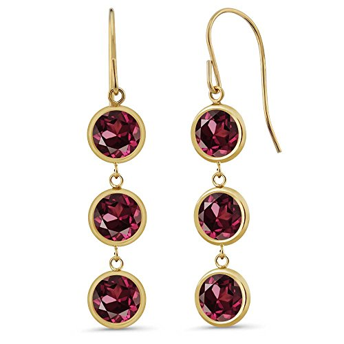 Gem Stone King 3.84 Ct 3 Red Rhodolite Garnet Stones 14K Yellow Gold Bezel 1inches Dangle Earrings