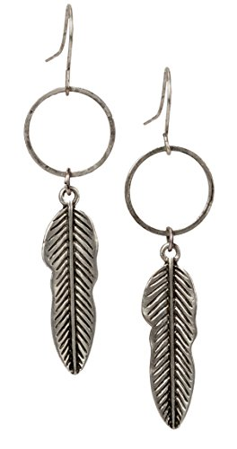 Free Spirit Feather Silver and Gold Antique Boho Chic Tribal Ethnic Vintage Hoop Circle Fishhook Dangle Earrings for Women and Girls Gift Jewelry Bohemian | SPUNKYsoul Collection (Large Silver)