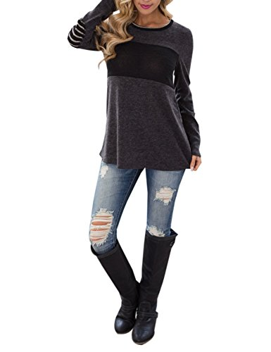Patch Long Sleeve Tee - Women's Long Sleeve Casual T Shirts Color Block Elbow Patches Tops Blouse Tunic (M, Grey)