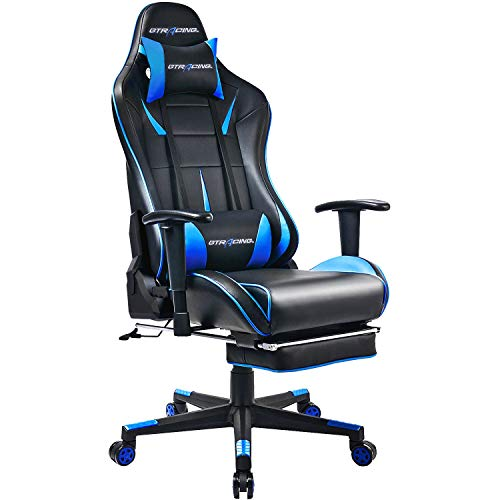 Cheap GTRACING Gaming Chair Ergonomic Office Chair with Footrest Heavy Duty E-Sports Chair for pro Gamer Seat Height Adjustable Multifunction Recliner with Headrest and Lumbar Support Pillow GT909 Blue