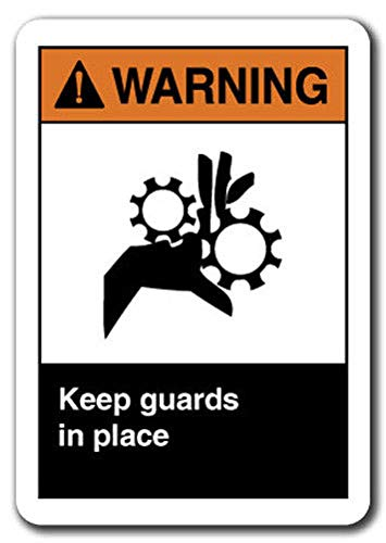 - Warning Sign - Keep Guards in Place Safety Sign ansi OSHA Label Decal Sticker Retail Store Sign Sticks to Any Surface 8