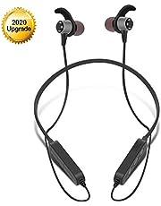 Hanging Earplugs Bluetooth Headphones, Foldable Wireless Bluetooth 5.0 Earphones HD Stereo Bass Waterproof with Noise Cancelling Mic in Ear Sports Earphones with Mic,B