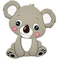 Food Grade Silicone Teethers DIY Animal Koala Baby Ring Teether Infant Baby Silicone Chew Charms Kids Teething Gift Toddler Toys : Koala Gray