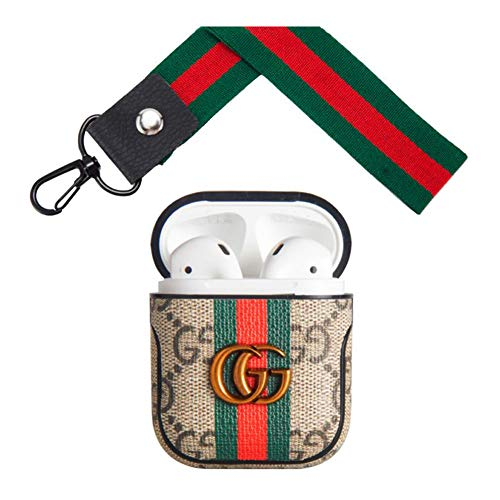 New Luxury airpods case Cover,Compatible Apple Airpod 1&2,Elegant epidermis Airpods case Cover,Fashion Airpod case,Full Protection Shockproof Airpods case,with Wrist Strap and Keychain, (Burberry Key Case)