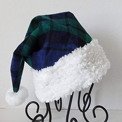 (Blue and Green Black Watch Plaid Santa Hat, Novelty Plaid Santa Hat, Christmas Hat)