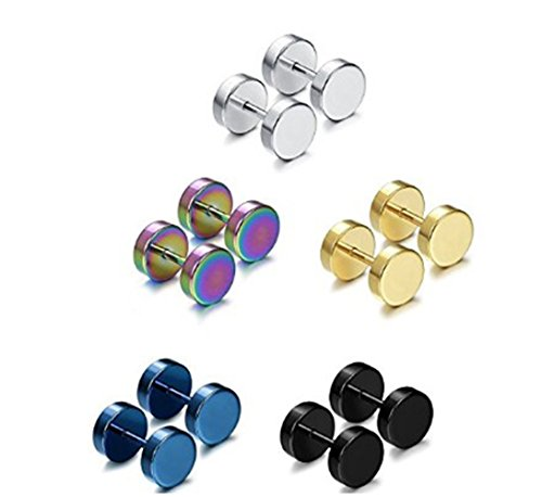 5 Pairs Stainless Steel Mens Womens Stud Earrings Set Faux Gauges Ear Piercing Plugs Tunnel,7mm-12mm -5C12MM
