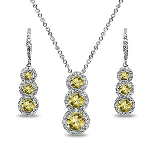 Sterling Silver Citrine Journey Halo 3-Stone Pendant Necklace & Leverback Earrings Set for Women