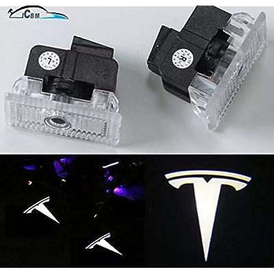 Tesla Model 3 Model S Model X Ultra-Bright Step LED Puddle Door Lights Car Logo Projector Welcome Light (T Logo): Automotive
