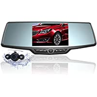 Dash Cam,4.3 Full HD 1080P Rearview Mirror Dual Lens Video Recorder Car DVR 170 Degree Wide Angle, Loop Recording,G-Sensor,Parking Monitor,Reverse Image
