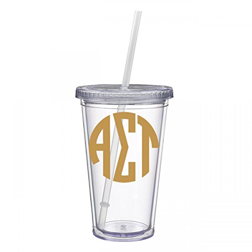 Alpha Sigma Tau Sorority Gold No Border Monogram Sticker Decal on Clear plastic Tumbler Greek Letter 16 oz. BPA Free (Stained Glass Name Tags)
