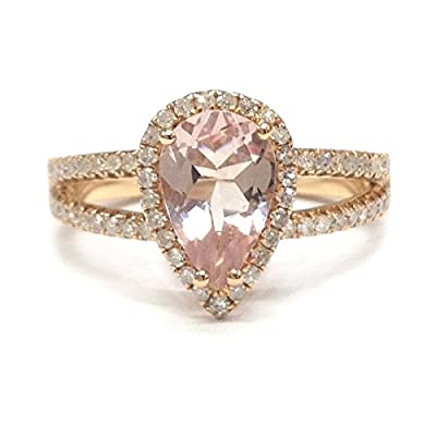 Pear Cut Morganite Engagement Wedding Diamond Ring,14K Rose Gold,6x9mm,Split Shank
