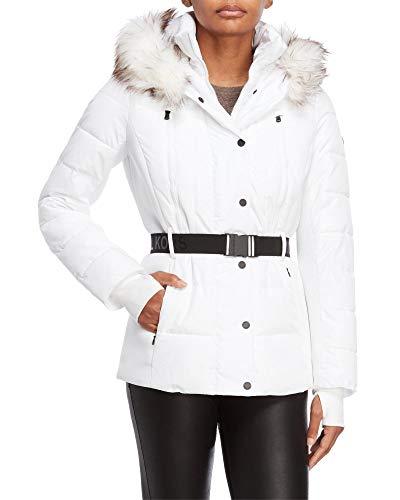 Michael Michael Kors Women's Logo Belted Hood Faux Fur Trim Puffer Coat Short Jacket Lightweight White (L)