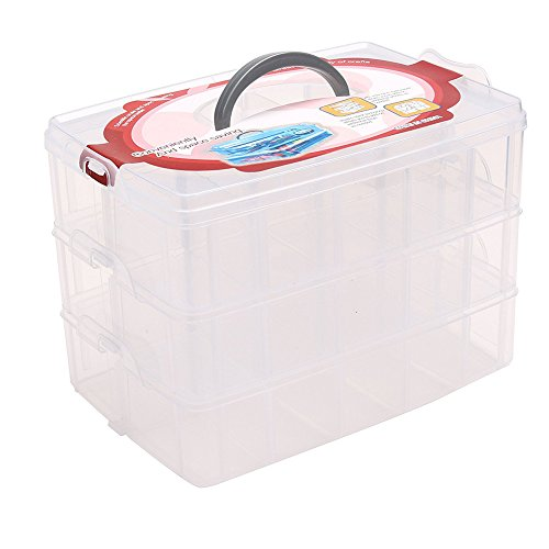 Wisehands Stackable Storage Container Display Box with 30 Adjustable Compartments, Storage Solution for Sewing Accessories (Threads, Bobbins, Beads) and Beauty Supplies (Nail Polish) by wisehands