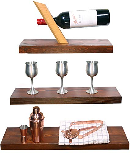 """Modern Cottage Floating Shelves Wood with Rustic Walnut Varnish, Set of 3 Thick Wooden Shelves Wall Mounted, Perfect for Bedroom, Bathroom or Kitchen, Sized 24"""" + 20"""" + 16"""" Inches"""