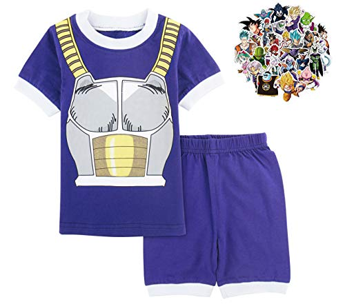 1bar Dragon Ball Z Pajama Set Boys Toddler Kids 2 Piece Anime Goku Cotton PJ Shirt and Shorts with Free Dragon Ball Stickers, 2T Blue -