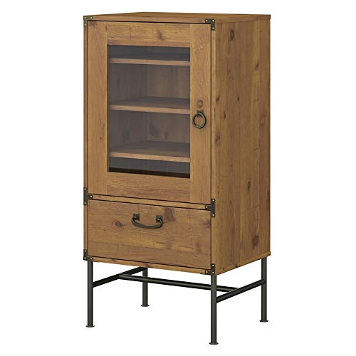 kathy ireland Home by Bush Furniture Ironworks Audio Storage Cabinet in Vintage Golden Pine (Tower Component Rack Audio)