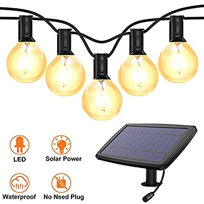 Solar String Lights,BEIEN Waterproof LED Indoor/Outdoor Hanging Umbrella Lights with 27 G40 Bulbs&4 Light Modes-27FT Heavy Duty Patio Lights with 4400mAh Solar Battery for Patio,Backyard,Garden,Bistro