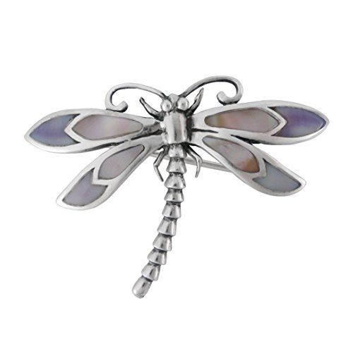 (Sterling Silver Cultured Shell Inlay Dragonfly Brooch)