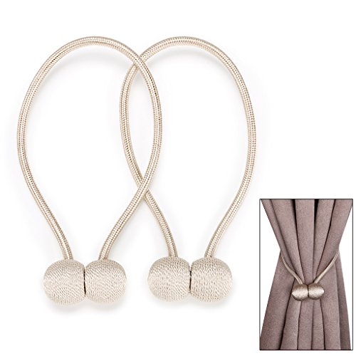BTSKY Decorative Magnetic Curtain Tiebacks Rope - Window Treatment Hardware Curtain Holdbacks Drape Holder for Home Office, Set of 2 (Beige) (Place Tie Backs Curtain)