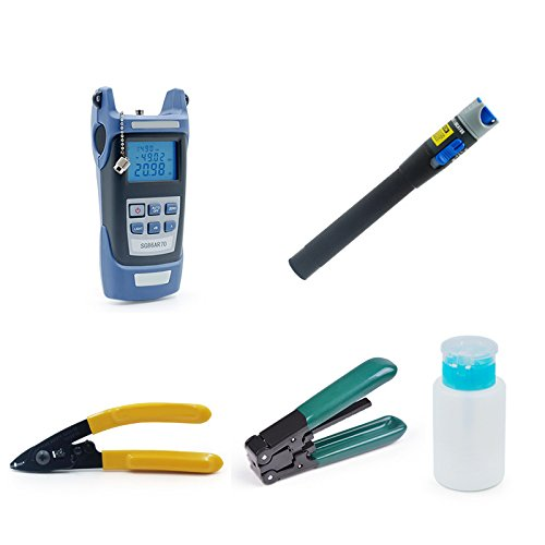 zinnor 7 in 1 Fiber Optic FTTH Tool Kit With FC-6S Fiber Cleaver & Optical Power Meter 5km/5000m w/Visual Fault Locator and Cable Cutter Stripper Tool Kit Bag/Case