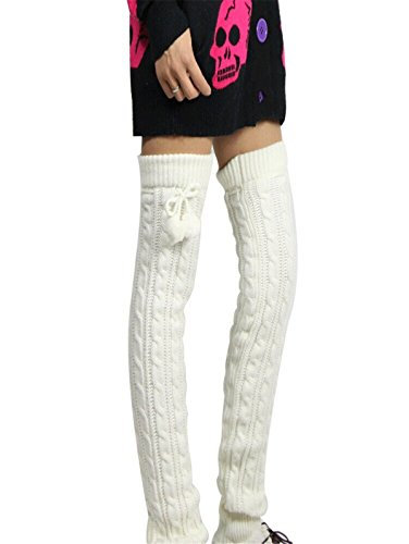 Womens Girls Long Knitted Twisted Patterns Leg Warmers, One Size(50 cm), White