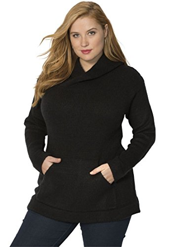 Women's Plus Size Soft Chunky Hoodie – Small, Black