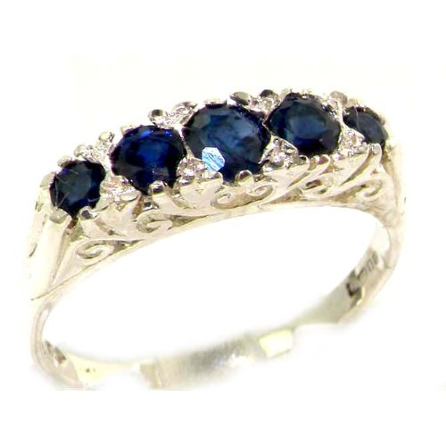 925 Sterling Silver Natural Sapphire Womens Band Ring - Sizes 4 to 12 Available by LetsBuySilver