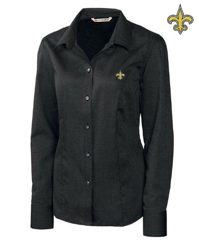 Cutter & Buck New Orleans Saints Ladies Nailshead Long Sleeve Button Down Shirt Black - Small
