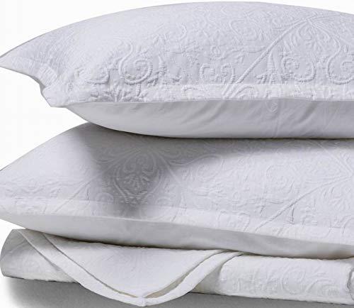 meadow park Premium Cotton Matelasse Coverlet + Matching Pillow Shams | King Size | Pre-Washed | Cozy Thick | Textured Jacquard 3 Pcs Quilt Bedspread Set, White