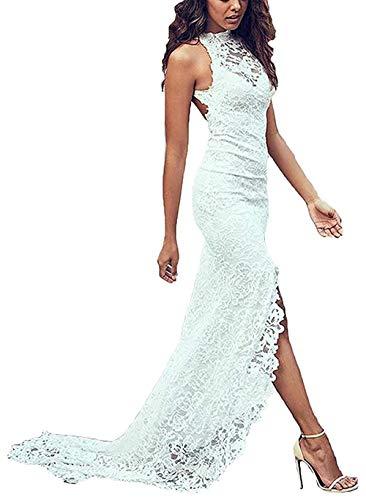 Women's Lace High Neck Wedding Dresses for Bride 2019 Side Split Open Back Mermaid Bridal Gowns White Size 2