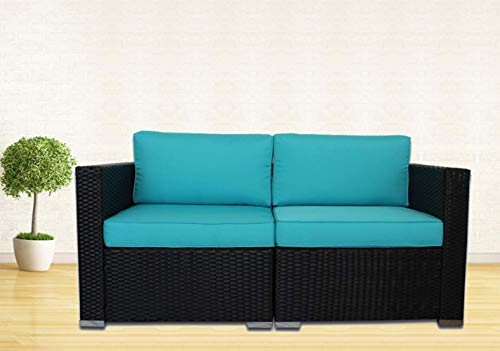 Outime Patio Rattan Sofa Black PE Rattan Wicker Furniture Set Garden Patio Furniture Cushioned Couch Sectional Sofas Conversation Sets-Easy Assembled(Turquoise Cushions,2 Piece)