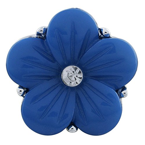 Lovmoment New Snaps 20MM Flower Snap with Pink Petal and White Rhinestone Snap Jewelry Charms (Blue)