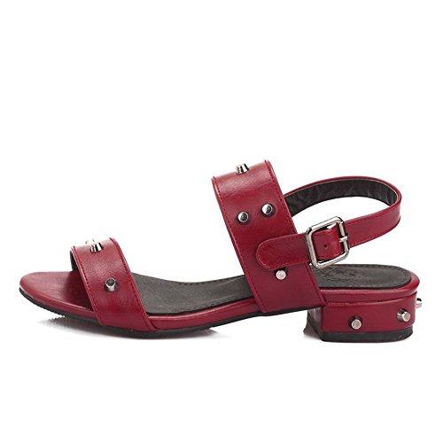 Amoonyfashion Kvinnor Fasta Mjukt Material Med Låg-häl Spänne Sandaletter Rödvin