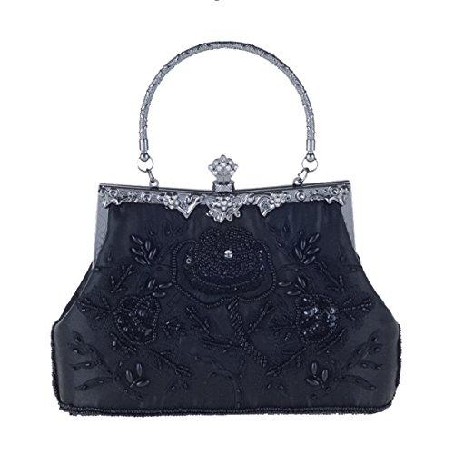 Lace Party Clutch Beaded Evening Ladies Sequins Mogor Retro Bags Clutch Black Purse Elegant EpqWTYS5wx