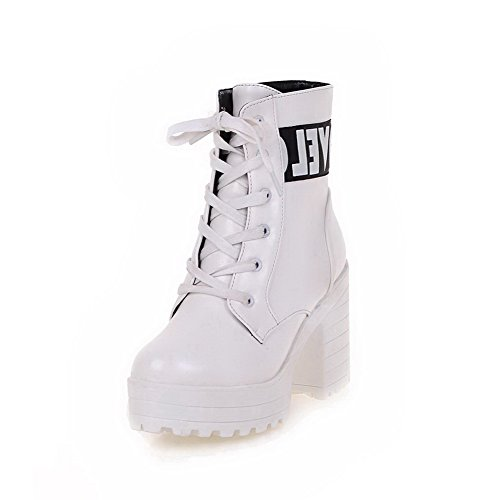 AmoonyFashion Womens Lace-Up High-Heels PU Assorted Color Low-Top Boots White ITZayO
