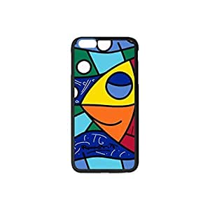 Custom IPhone 6 Plus Case,with the pattern Colorful fish Romero Britto Style Case for 5.5 inch Optional Color Black and White