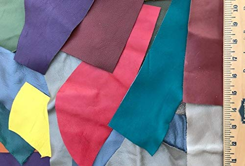 Scrap Upholstery Leather Craft Bright Rainbow Colors Mix 2 Lbs 10 Sf